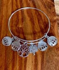 5.00  resell for 15.00 or more Silver tone Bangle Charm Bracelet  Tree of Life Fits 7 to 8 inch wrist Style #STTLBB033019