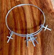 5.00  resell for 15.00 or more Silver tone Bangle Charm Bracelet  Cross  Fits 7 to 8 inch wrist  Style #STCBB033019