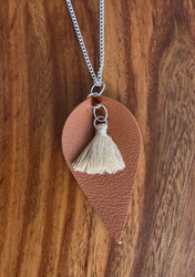 "6.00 resell for 18.00 or more Brown Leatherette Necklace w Tassel 2 1/5"" x 1 1/4"" 24"" silver tone chain Style # BLTN040119"
