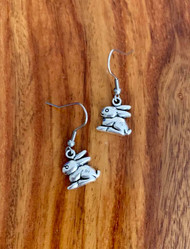 2.00 resell for 6.00 or more Pewter Bunny Earrings Surgical Steel Earwires Style #PBE040119