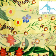 """BE SURE TO PUT """"SCARF"""" IN THE SEARCH....WE HAVE DOZENS TO CHOOSE FROM STARTING AT 6.00 AND EACH GIVES BACK! **This purchase will also donate 1 scarf with earrings to a cancer patient**  Only at Website 12.00  resell for 24.00 or more Yellow Floral Scarf • Color : Yellow • Theme : Flower & Leaf  • Size : 13"""" X 60"""" • Material : 100% Polyester Style #YFS040419"""