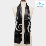 """BE SURE TO PUT """"SCARF"""" IN THE SEARCH....WE HAVE DOZENS TO CHOOSE FROM STARTING AT 6.00 AND EACH GIVES BACK! **This purchase will also donate 1 scarf with earrings to a cancer patient**  Only at Website 12.00  resell for 24.00 or more  Black Music Scarf  • Color : Black • Theme : Music  • Size : 13.5"""" X 60"""" • Material : 100% Polyester Style #BMS040419"""
