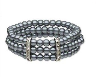 "resell for 36.00 or more 7.5"" Grey German Acrylic Pearls with Pewter and Crystal. Bracelet.  Style #GPSB040619"