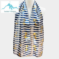 """BE SURE TO PUT """"SCARF"""" IN THE SEARCH....WE HAVE DOZENS TO CHOOSE FROM STARTING AT 6.00 AND EACH GIVES BACK! **This purchase will also donate 1 scarf with earrings to a cancer patient**   12.00 resell for 36.00 or more • Color : Navy • Theme : Anchor  • Size : 14"""" X 60"""" • Material : 100% Polyester Style #NAS040619"""