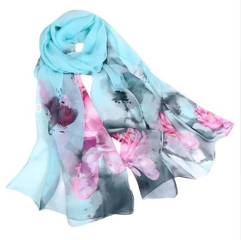 """12.00 resell for 36.00 or more Lt Teal Chiffon Scarf 19x62"""" Style #LTCS040819"""