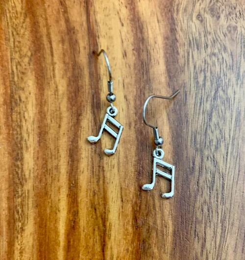 3.00 resell for 9.00 or more Pewter Music Note Earrings 14 x 10 mm Surgical Steel ear wires Style #MNE041219
