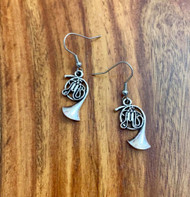 4.00 resell for 12.00 or more Pewter French Horn Charm 23 x 13 mm surgical steel earwires style #FHE041519