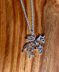 "4.00 resell for 12.00 or more 20"" silver tone chain Origami Pegasus. Style #OP042319"