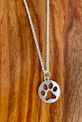 "4.00 resell for 12.00 or more 7/8"" x 3/4"" paw cut out pendant 20"" silver tone chain Style #COPN042319"
