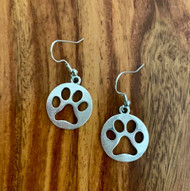 "Pewter Paw Cut Out Earrings 4.00 resell for 12.00 or more 7/8"" x 3/4"" charm on surgical steel ear wires Style #COPPE042319"