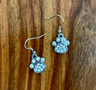 Crystal Pet Paw Earrings 6.00 resell for 18.00 or more Pewter w crystal charms 18x16mm surgical steel earwires style #CPPE042319