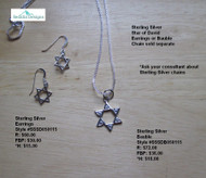 Sterling Silver Star of David Earrings; bauble & chain sold separately