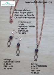 Copper Ichthus bauble