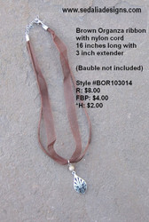 Brown Organza ribbon necklace