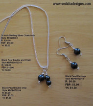Black pearl earrings & bauble