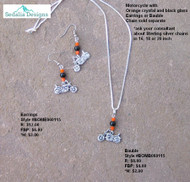 Motorcycle with black and orange beads make  these a special gift for that cycle 'lover'
