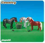 Playmobil Add-On 3 Ponies with Feeding Bucket #6256