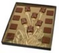 "6 ROSEBUD BOX W/SQUARES-GOLD INSERT, 8 3/4"" X 10 5/8"" X 3/4"""
