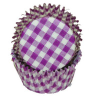 "GINGHAM PURPLE BAKING CUP--2"" Base, 1-1/4"" Wall---PKG/500"