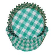 "GINGHAM GREEN BAKING CUP--2"" Base, 1-1/4"" Wall---PKG/500"