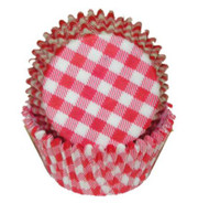 "GINGHAM RED BAKING CUP--2"" Base, 1-1/4"" Wall---PKG/500"