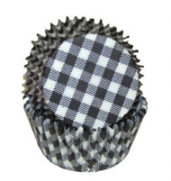 "GINGHAM BLACK BAKING CUP--2"" Base, 1-1/4"" Wall---PKG/500"