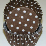 "BROWN POLKA DOT BAKING CUP BROWN--2"" Base, 1-1/4"" Wall--PKG/500"