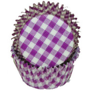"GINGHAM PRPL MINI BKG CUP--1-1/2"" Base, 3/4"" Wall--PKG/500"
