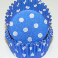 "BLUE POLKA DOT MINI BAKING CUP-1-1/2"" Base, 3/4"" Wall--PKG/500"