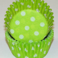 "LIME GREEN POLKA DOT MINI BAKING CUP-1-1/2"" Base, 3/4"" Wall--PKG/500"