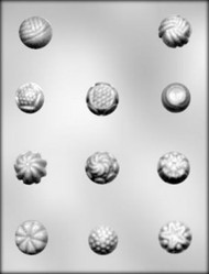 "1"" - 1-1/8"" FANCY ROUND CANDIES CHOCOLATE CANDY MOLD"