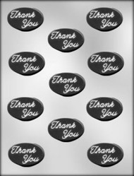 "1-7/8"" OVAL THANK YOU MINT CHOCOLATE CANDY MOLD"