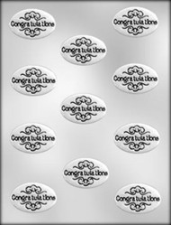 "1-7/8"" OVAL CONGRATULATIONS CHOCOLATE CANDY MOLD"