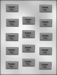 "1-5/8"" RECTANGLE THANK YOU CHOCOLATE CANDY MOLD"