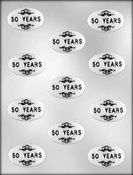 "1-7/8"" OVAL 50 YEARS MINT CHOCOLATE CANDY MOLD"
