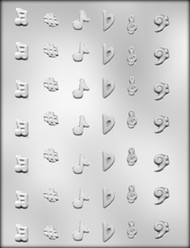 "1/2"" - 3/4"" MINI MUSIC NOTE CHOCOLATE CANDY MOLD"