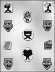"""1-1/4"""" - 1-3/4"""" THEATRE ASSORTMENT CHOCOLATE CANDY MOLD"""