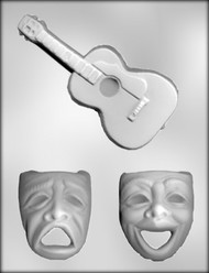 "3-3/4"" MASKS - 6-1/2"" GUITAR CHOCOLATE CANDY MOLD"