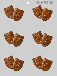 "2.5"" COMEDY - TRAGEDY MASK CHOCOLATE CANDY MOLD"