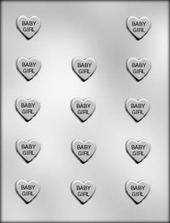 "1"" BABY GIRL HEART CHOCOLATE CANDY MOLD"