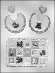 "5"" BABY QUILT & BIB CHOCOLATE CANDY MOLD"