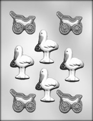 "2 3/4"" STORK & 2-1/4"" BUGGY CHOCOLATE CANDY MOLD"