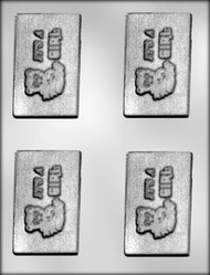 "3-5/8"" BABY GIRL CARD CHOCOLATE CANDY MOLD"