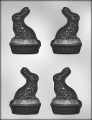 "3-5/8"" BUNNY ON BASKET 3-D CHOCOLATE CANDY MOLD"