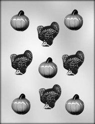 "1-5/8"" PUMPKIN/TURKEY CHOCOLATE CANDY MOLD"
