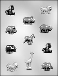 "3/4"" - 2-7/8"" ZOO ANIMAL ASSTMT CHOCOLATE CANDY MOLD"
