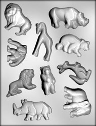 "2"" - 3-1/8"" ZOO ANIMAL ASSTMT CHOCOLATE CANDY MOLD"