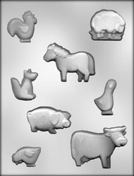 "1-3/4"" - 3"" ASSTD FARM ANIMAL CHOCOLATE CANDY MOLD"