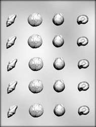 "3/4"" - 1"" SHELL ASSORTMENT CHOCOLATE CANDY MOLD"