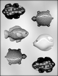 "2-1/2"" -3"" FISH FROGS & TURTLES CHOCOLATE CANDY MOLD"